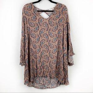 LUSH Paisley Print Tunic Dress Bell Sleeve Keyhole